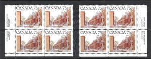 Canada PLATE BLOCK 1 DF AND LF PAPERS, SCOTT 724/724i VF MINT NH (BS13259-2)