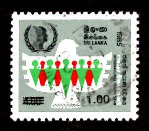 Sri Lanka SURCHARGE 1986 Intl. Youth Year 1r on 4.60r Scott.790 Used (#1)