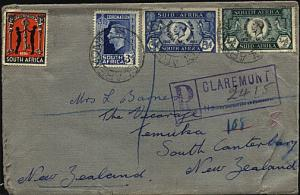 SOUTH AFRICA 1937 Registered cover - Jubilees, Cinderella etc to New Zealand