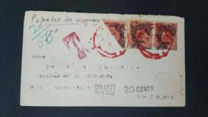 L) 1992 VENEZUELA, POSTAGE DUE, BISECT, UNITED STATES, 10 CENTIMOS, RED, RESELLE
