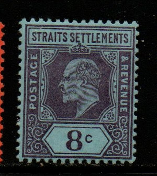 Straits Settlements Sc 97 1902 8 c violet on blue Edward VII stamp mint