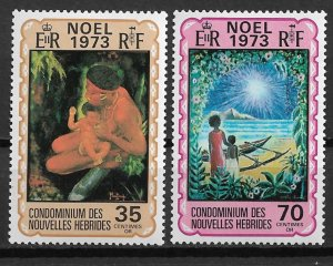 1973 French New Hebrides Sc198-9 Christmas C/S MNH