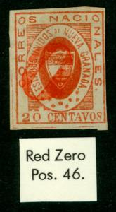 COLOMBIA 1861 ARMS of New GRANADA 20c red Sc# 17  used  ZERO red cancel VF