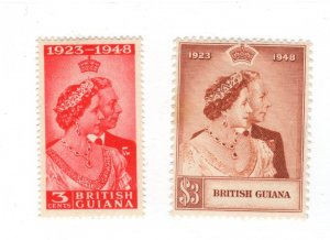 British Guiana #244-245 Stain on 245 MH CAT VALUE $22.75