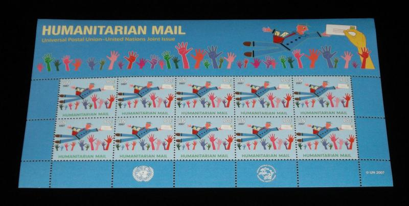 U.N.NEW YORK,#944,  2007 HUMANITARIAN MAIL ISSUE, PANE OF 10,MNH NICE! LQQK!