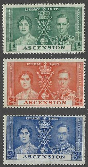 Ascension #37-39 Mint Hinged Set of 3 Coronation Issue