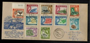 1958 Pitcairn Islands Cover to New Zealand Comp Set # 20-30