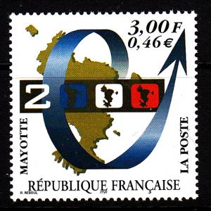 Mayotte MNH Scott #132 3fr Map, Year 2000
