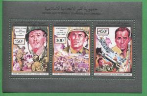 Errol Flynn Humphrey Bogart Henri Fonda WW2 Souvenir Stamps Comoro Islands E7