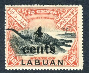 Labuan 1904. 4c on 12c black & vermilion. Mint Hinged. SG132.