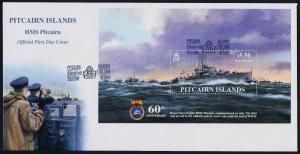 Pitcairn Islands 599 on FDC - Royal Navy HMS Pitcairn, Warship