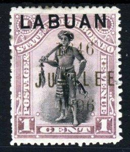 LABUAN Queen Victoria 1896 LABUAN JUBILEE OVPT 1c. North Borneo P14½ SG 83 MINT
