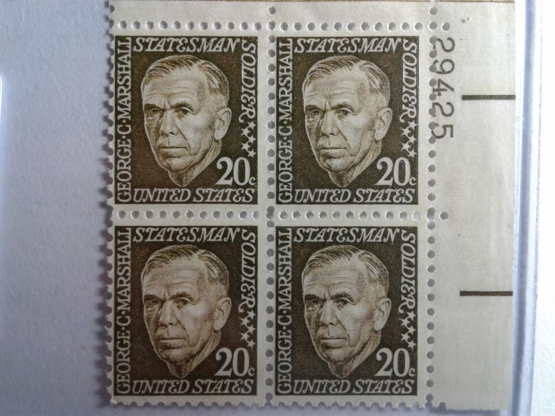 SCOTT # 1289  20 CENT GEN. GEORGE C. MARSHALL MINT NEVER HINGED PLATE BLOCK  GEM