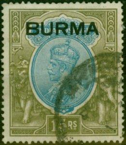 Burma 1937 15R Blue & Olive SG17 Fine Used