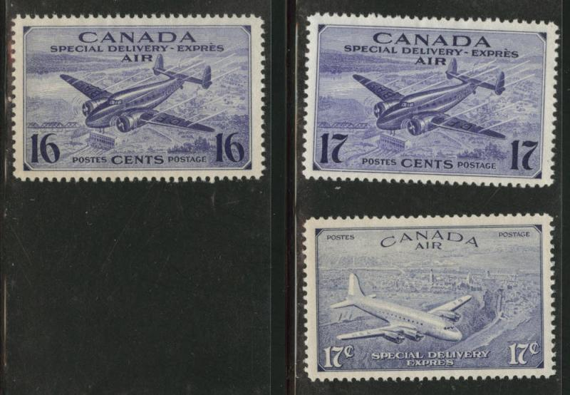 CANADA Scott CE1-2, CE4 MNG Express mail stamp 1942-1947