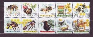 Z615 JLstamps 1990 sweden set mnh #1819-28 bees
