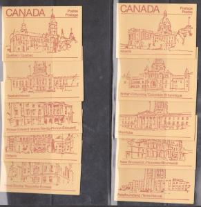 Canada - #BK84c - 1983 Maple Leaf Issue Set of 10 Diff.Orange Covers  Booklets
