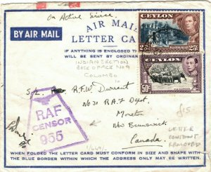 CEYLON WW2 Cover RAF CENSOR Indian Section No9 Canada New Brunswick 1942 LS134