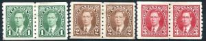 CANADA-1937 Set of Coil Pairs Sg 368-370 AVERAGE MOUNTED MINT V25102