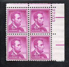SCOTT # 1036 FOUR CENT LINCOLN PLATE BLOCK GEM MINT NEVER HINGED STUNNING !!