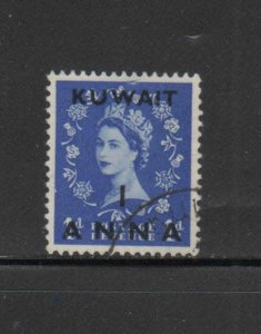 KUWAIT #121  1958  1a on 1p    QE II  SURCHARGED   F-VF  USED  a