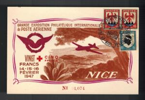 1947 Nice France postcard Cover Aviation Meeting Internation Air Club Exposition