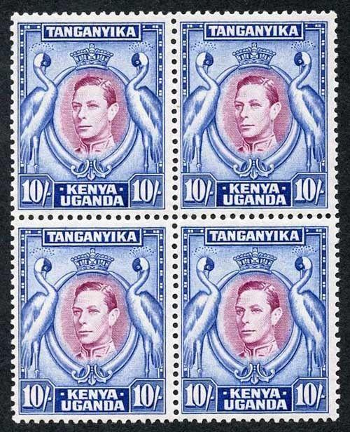 KUT KGVI SG147 10/- Purple & Blue perf 13.25 U/M Block