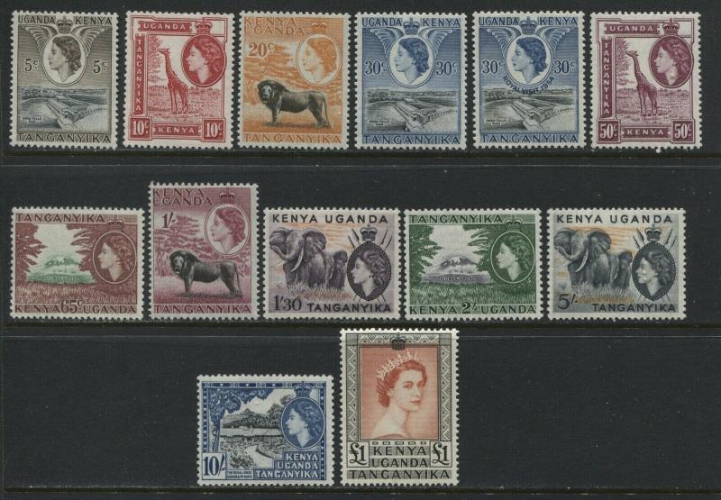 Kenya, Tanganyika, Uganda QEII first definitive set mint o.g.