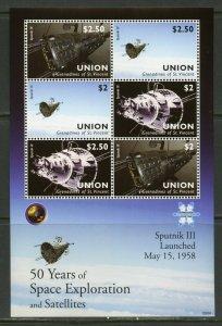 UNION ISLAND  50 YEARS OF SPACE EXPLORATION & SATELLITES SPUTNIK III  SHEET MINT