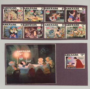 Grenada #1021-30 Christmas Disney Snow White 9v & 1v S/S Imperf Chromalin Proofs