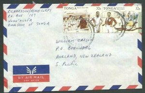 TONGA 1989 Rugby pair on commercial cover to NZ............................11902