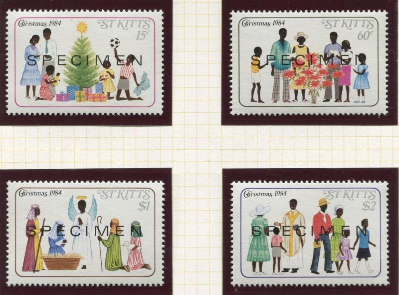 St Kitts - Scott 161-64 - Specimen - Christmas -1984 - MNH- Set of 4 Stamps