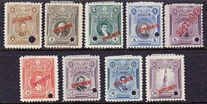 PERU 1924-29 9 values overprinted SPECIMEN and security punch mint.........7969