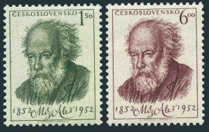 Czechoslovakia 546-547,MNH.Mi 755-756. Mikulas Ales,painter,birth centenary,1952