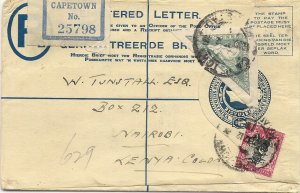 1932 South Africa 4d Registered Postal Stationery Envelope CAPETOWN to NAIROBI