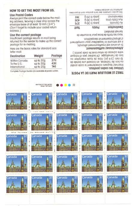 Canada - Stamp Pack Complete Booklet 25 X 37c #BK98a