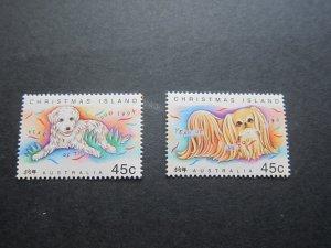 Christmas Island 1994 Sc 358-9 dog set MNH
