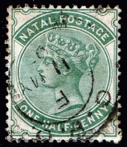 UK STAMP NATAL 1882 -1889 Queen Victoria,  1/2 P BLUISH GREEN USED