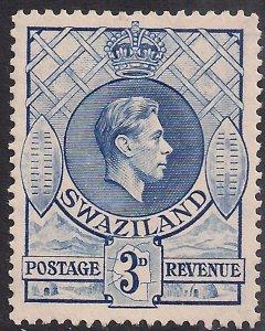 Swaziland 1938 - 54 KGV1  3d Ultramarine Mint No Gum SG 32b ( L1370 )