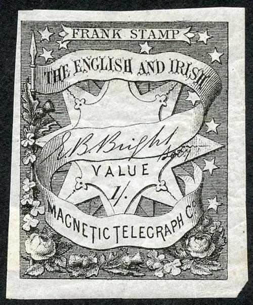 English and Irish Magnetic Telegraph Company 1/- Black