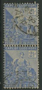 Cape of Good Hope - Scott 57 - General Issue -1892- Use-Vert. Pair 2.1/2p Stamp