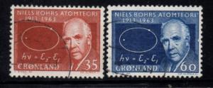 Greenland Sc 66-7 1963 Niels Bohr stamp set used