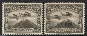 Nicaragua 1930 Surcharged Airmail set Sc# C7-8 NH