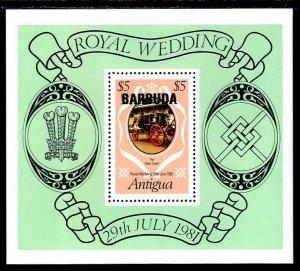 BARBUDA - 1981 - ROYAL WEDDING - DIANA & CHARLES - COACH - MINT - MNH S/SHEET!