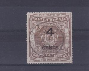 NORTH BORNEO   1899  S G 124 -  4C ON  10 DOLLAR BROWN  M/H