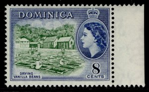 DOMINICA QEII SG149, 8c deep green & deep blue, NH MINT.