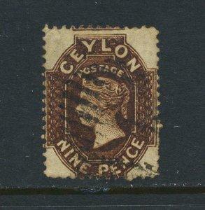 CEYLON 1862, 9d NO WMK P13, VF USED SG#42 CAT£120 (SEE BELOW)
