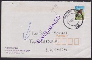 FIJI 1999 cover Suva to Labassa - UNCLAIMED handstamp.......................5996