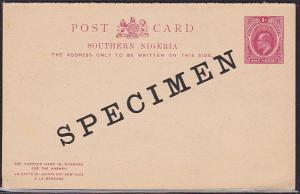 SOUTHERN NIGERIA EVII 1d + 1d reply postcard optd SPECIMEN..................1474