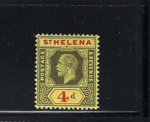 ST HELENA SCOTT #71 1912 4P (BLACK&RED/YELLOW- CHALKY PAPER)MINT  LIGHT HINGED